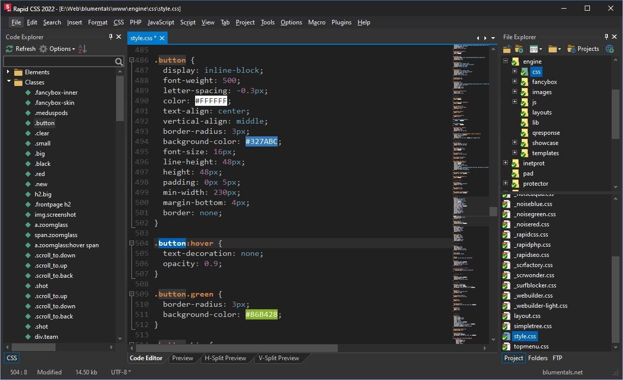 Rapid CSS editor - Highlights